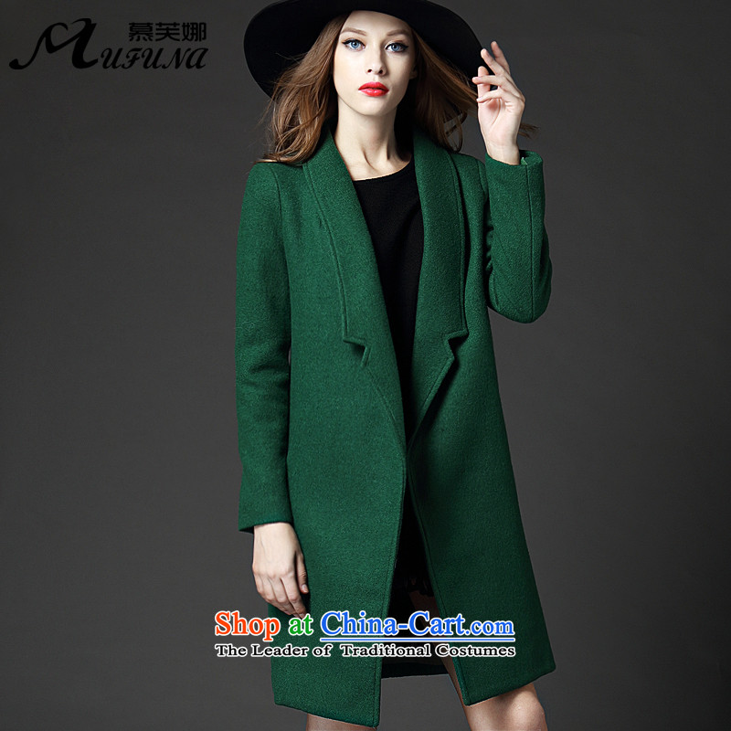 Improving access to the European and American women XL 2015 winter clothing in long wool coat thick mm video? thin coat E5212  5XL green