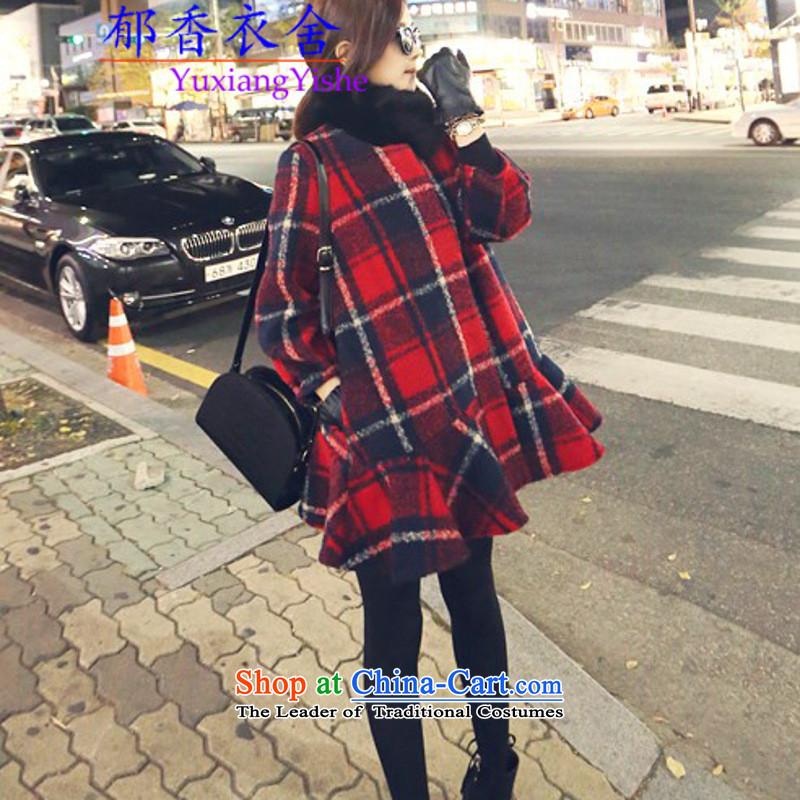 Yu Xiang Yi Dag Hammarskjöld 2015 autumn and winter black and white checkered billowy flounces petticoats gross? jacket wool woolen coat female redXL