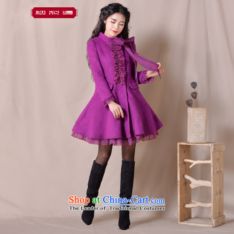 Fireworks Hot Winter 2015 new women's temperament with a thin hair so Sau San video jacket coat Zi Teng Town Hall from purple XXL pre-sale 25 Days