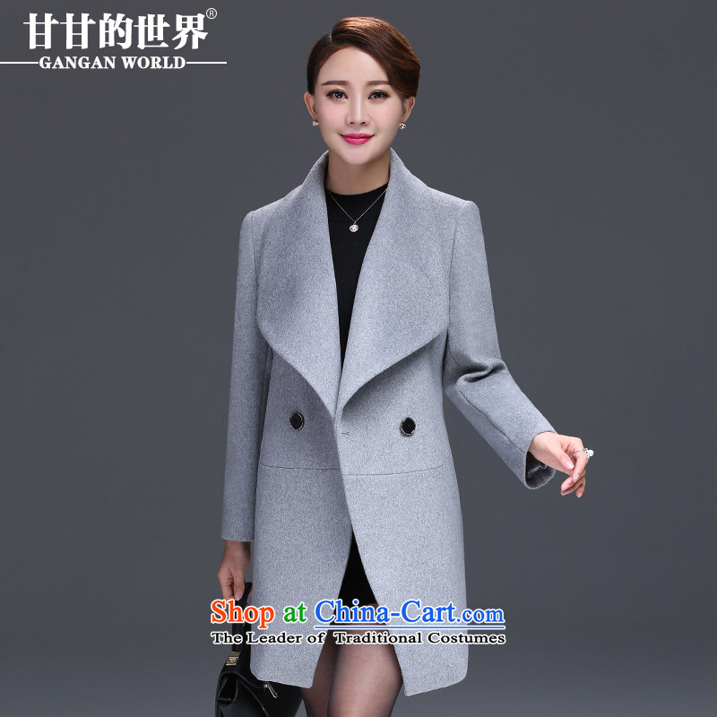Gangan World�15 autumn and winter New Sau San larger female lapel a grain of detained a wool coat gross butted? Long Female Silver Gray�L
