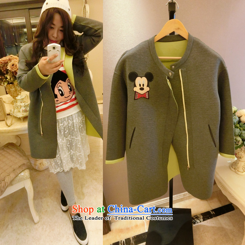 Addiction is larger women 2015 Korean winter clothing lovely cartoon Mickey round-neck collar hidden Zip Jacket 7,277?XXXL Gray