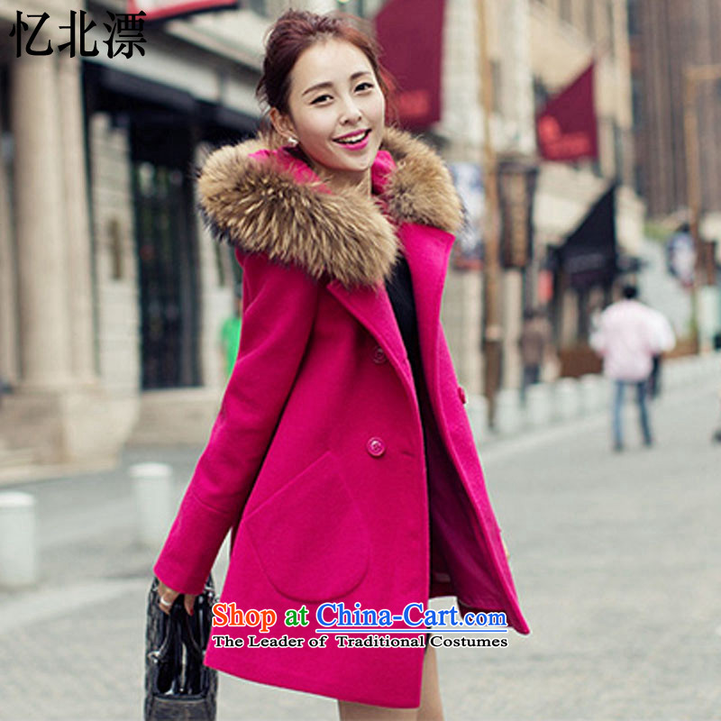 Recalling that the 2015 Autumn and Winter North drift-new Korean women's double-butted long hair?) gross collar cap long-sleeved Connie sub-coats L6615 female in the red S
