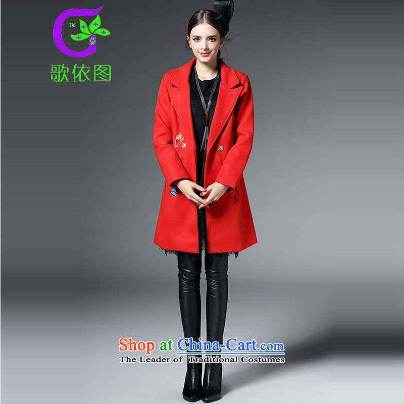 In accordance with the Diagram 2015 songs autumn and winter new western style lapel cartoon embroidery long wool coat jacket female A51333? orange M