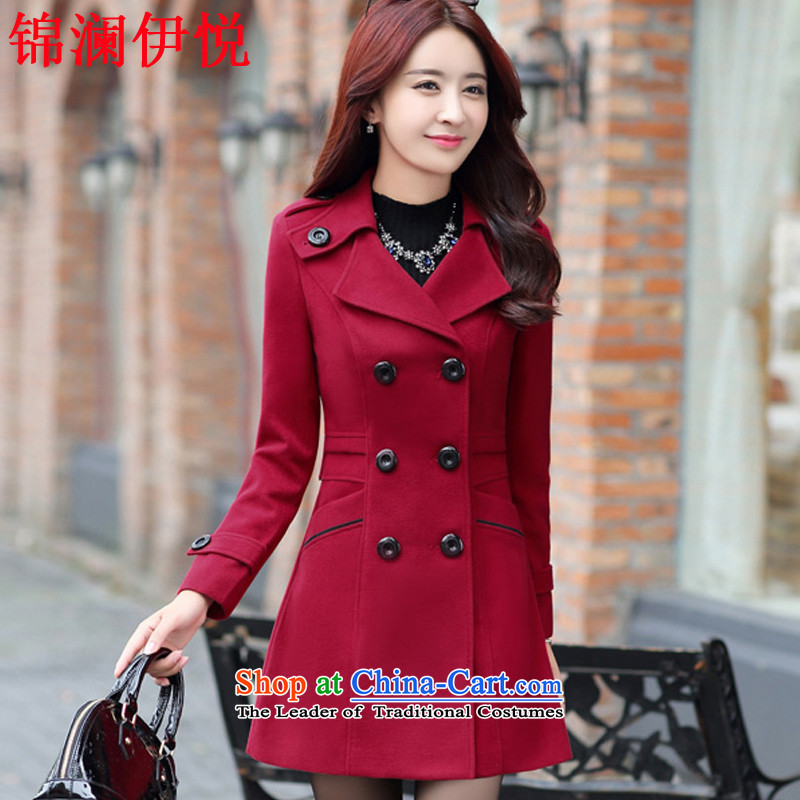 The world of Kam Yuet 2015 new female elegance Korean leisure gross a wind jacket color navy OL commuter is simple and stylish atmosphere long coats 5896 wine red XXL