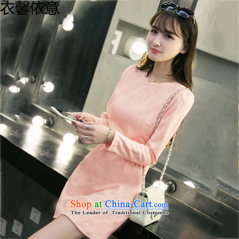 In accordance with the intention to include yi 2015 autumn and winter new packages and forming the lace the lint-free thick long-sleeved dresses Y408 pink XL
