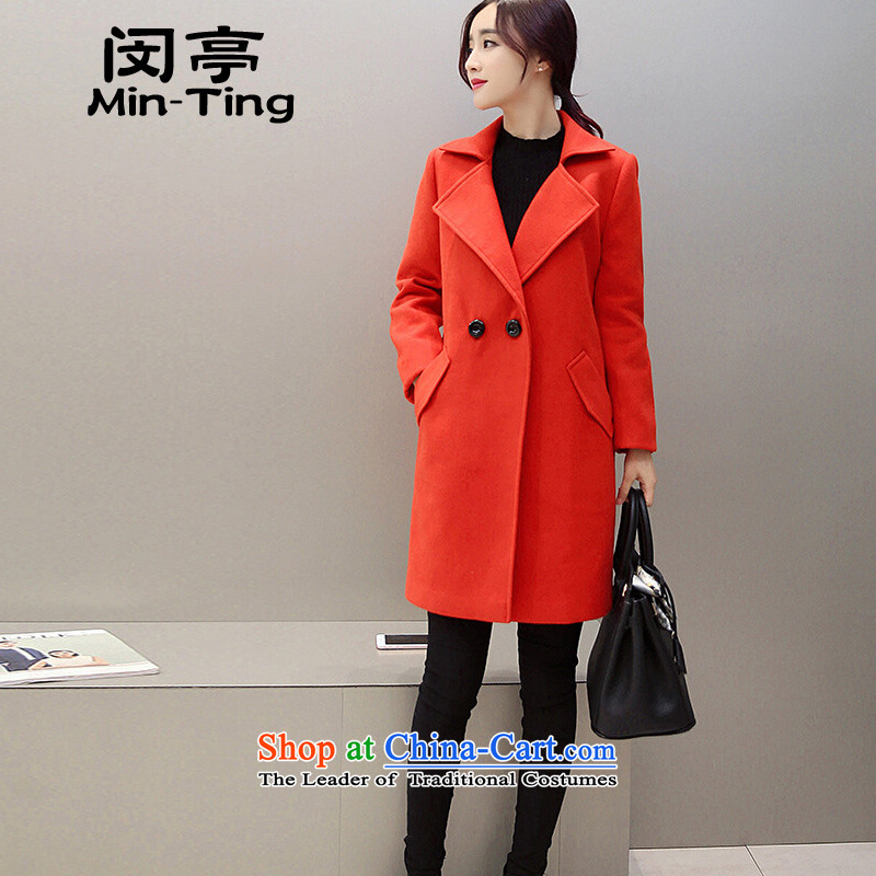 Min-winter new Korean long in Sau San wool a wool coat thick hair loose coat female red燲L?