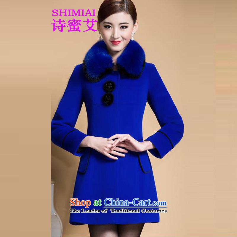 Poetry honey HIV 2015 new Korean jacket, long hair for Sau San? Blue Coat fluff燲XL