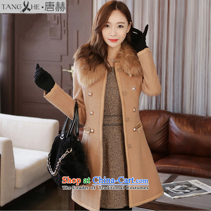 Tang Sheikh new products for winter 2015 dual row is long sheep a wool coat female gross for Korean windbreaker Sau San? jacket female 6211 gross and color L