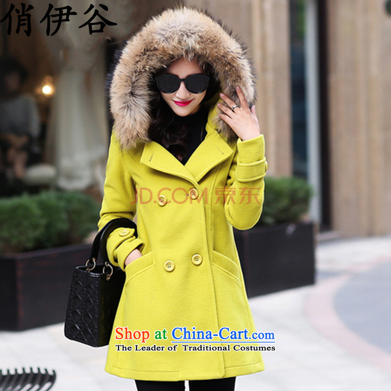 The new paragraph to the?Winter 2015 Korea Women's version of large numbers of women in the gross? jacket long hair collar cap Sau San a wool coat Fluorescent Green?XXL