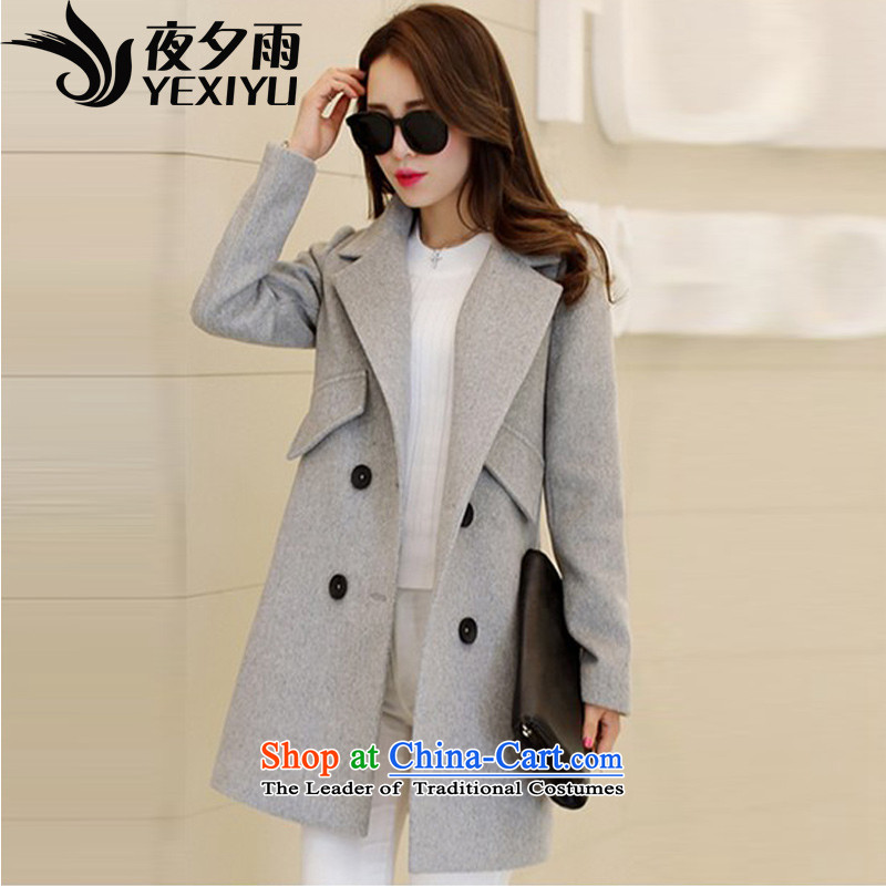 Overnight rain in聽spring and autumn night 2015 new stylish suit for video temperament Sau San Mao overcoats in this long Korean聽W1083聽Gray聽L