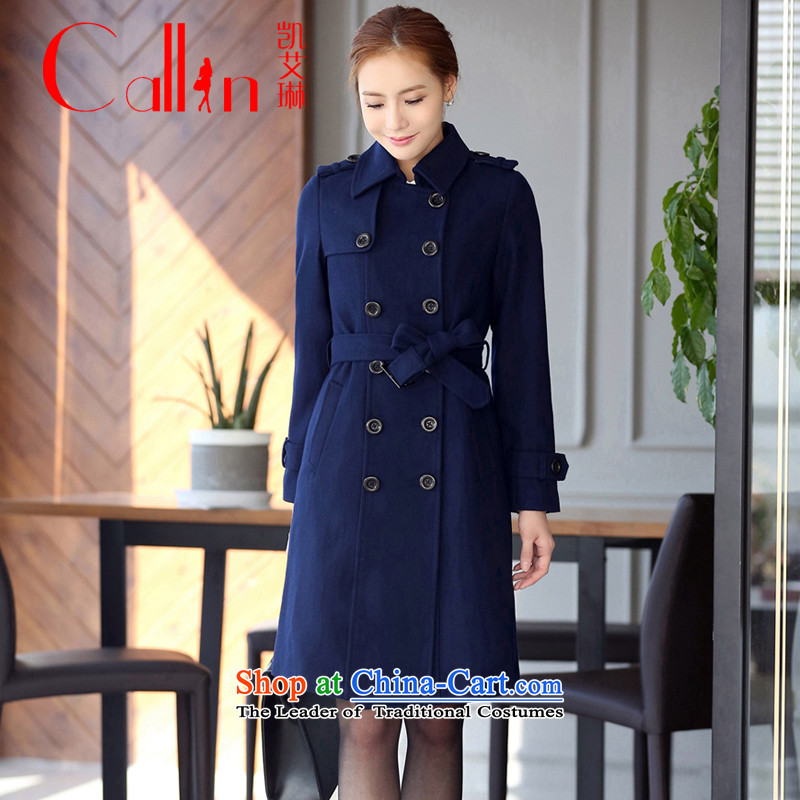 Gloria Irene 2015 autumn and winter new Korean female Professional Boxed OL Sau San? In gross jacket Ms. long wool a wool coat thick blue overalls燲XL