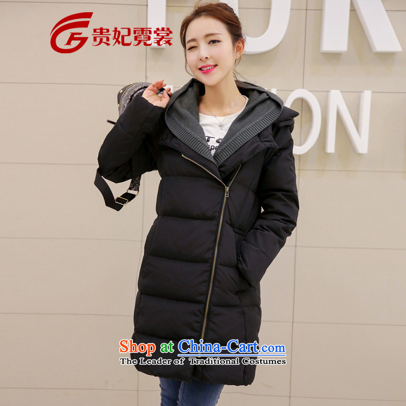 Gwi Tysan extra female jackets for winter 2015 mm thick 200 catties to xl thick with cap in long black�L downcoat爎ecommendations 170-185 catty