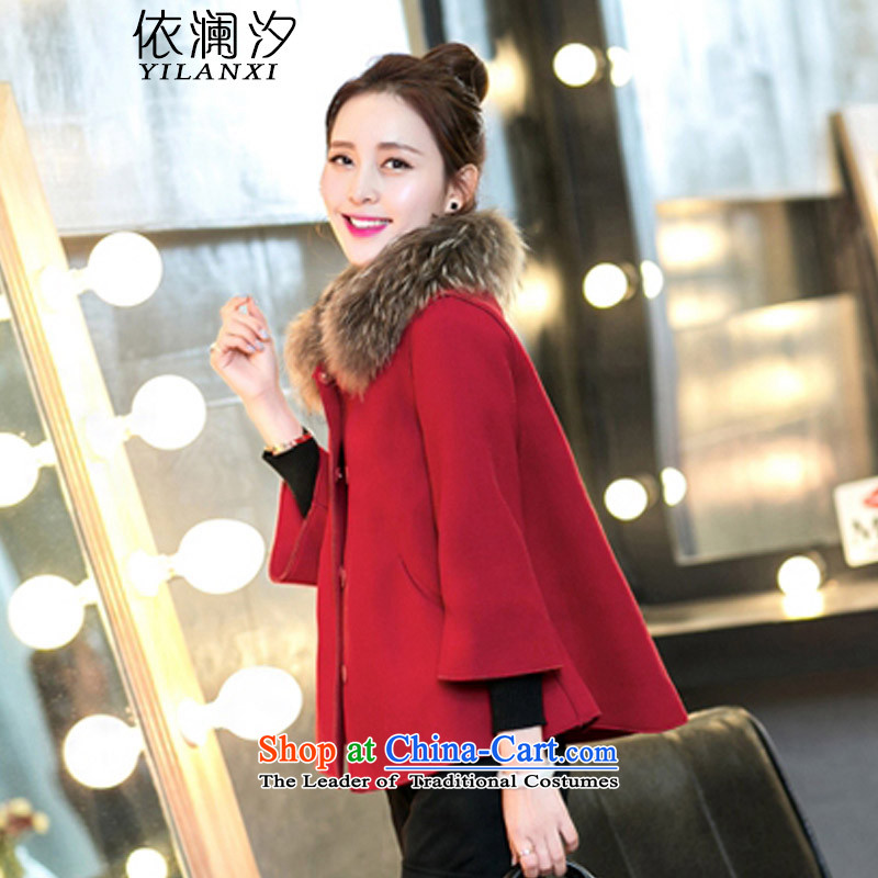In accordance with the World 2015 edition of the New Korea Hsichih, small incense funnels canopies gross shortage of female jacket is a winter coats shawl female gross coats 905 red?L105-115? catty