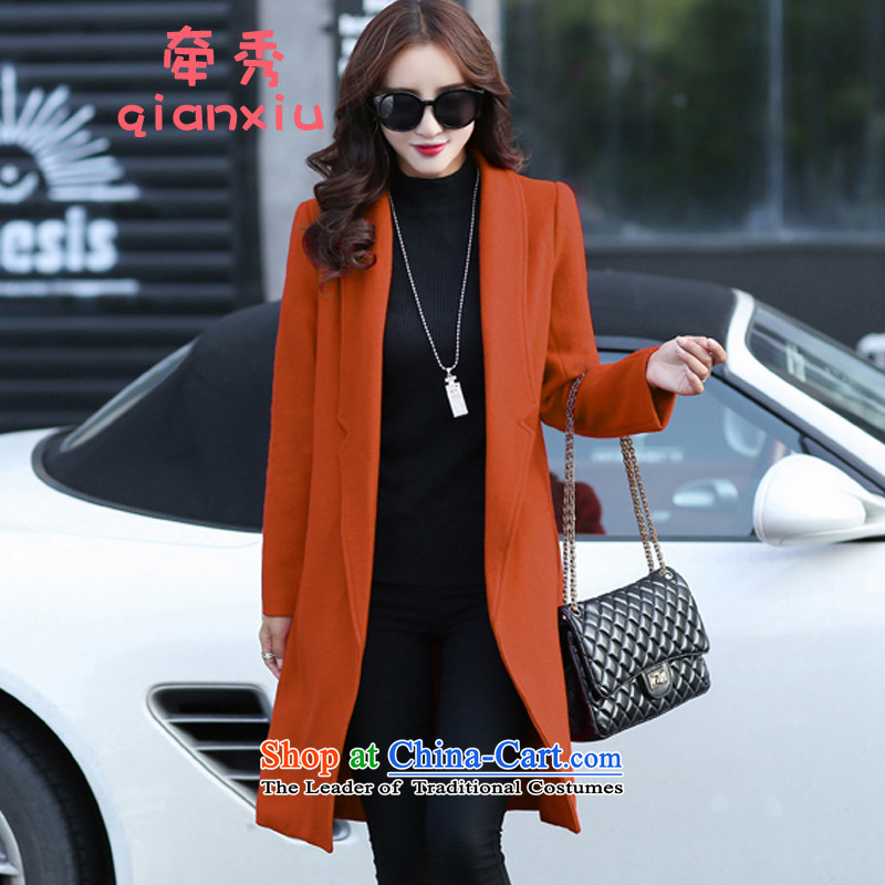 The lead-in 2015 New Sau San long large thick wool coat Korean?? coats female gross orange Yellow XL