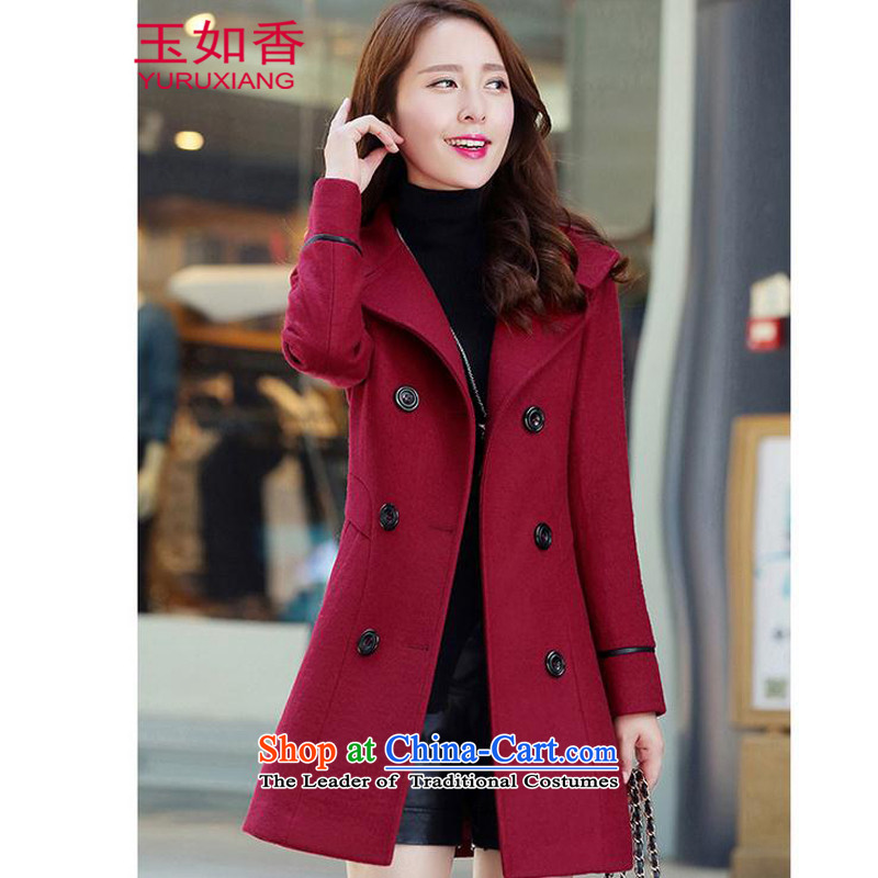 Yuk-yu Heung 2015 gross autumn and winter coats? the new Korean version of major, long-Sau San code female double-thick a wool coat wine red XL