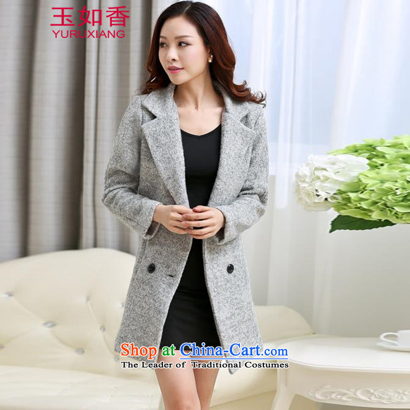 Yuk-yu Heung 2015 autumn and winter large new women's double-jacket ni-gross? coats Gray燣