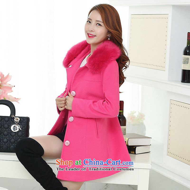 Lau in the statement made by the long hair for Korean windbreaker winter coats of a red聽XXXL