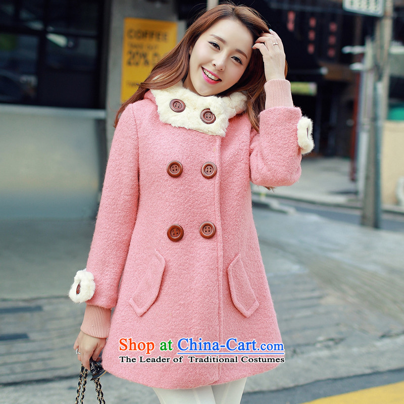 Statements were made by Lau on Winter 2015 new female jackets for larger video thin wool so Sau San Jacket coat female red XXL