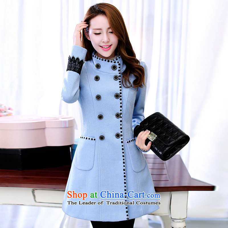 Statements were made by Lau new gross?   in the Korean version of the jacket long_? The coats female jacket water blueXL
