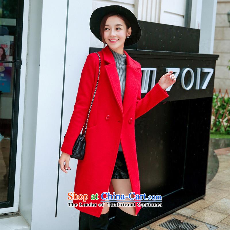 Sin has been gross? 2015 winter coats female new Korean jacket in Sau San Mao? long coats female jacket cashmere? redL