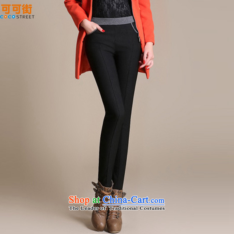 Cocoa Street Code women winter clothing to increase load autumn female pants 200 catties thick girls' Graphics thin pants, thick MM thick plus lint-free warm black trousers, forming the routed聽6XL