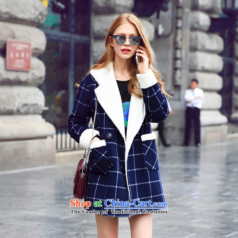 Also as small designer gross series聽2015 Women's autumn and winter new products is long single row plaid gross? jacket navy聽S