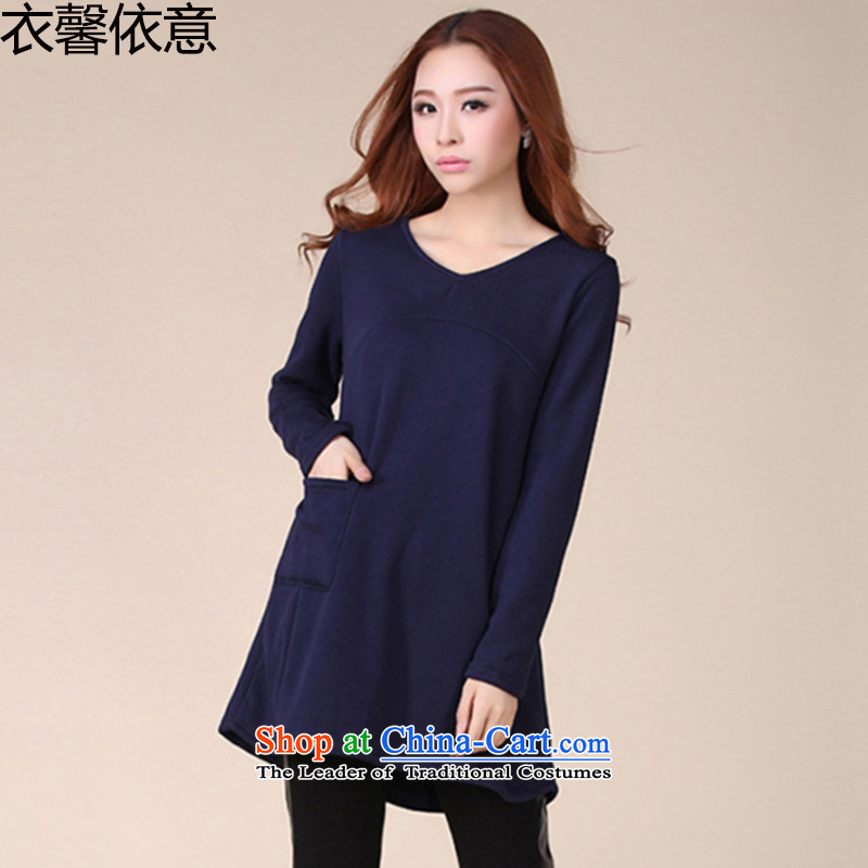 In accordance with the intention to include yi 2015 autumn and winter new larger women forming the thick wool shirts in the medium to long term, dresses Y410 BLUE燲L