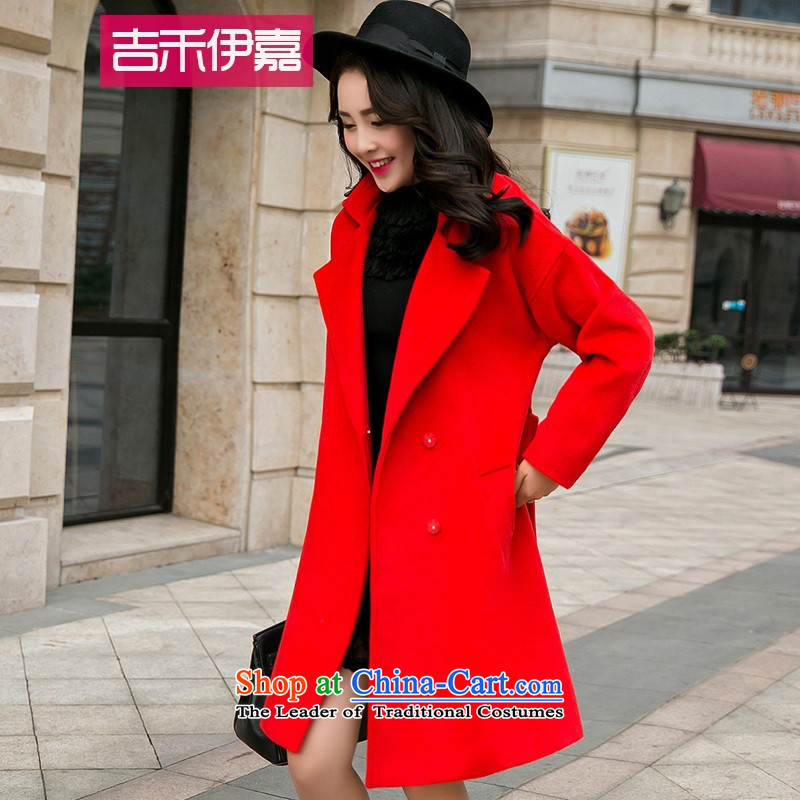 Gil Wo Ika large relaxd winter bride a marriage to pregnant women door bows dress evening red jacket thick MM Gross? female RED燤