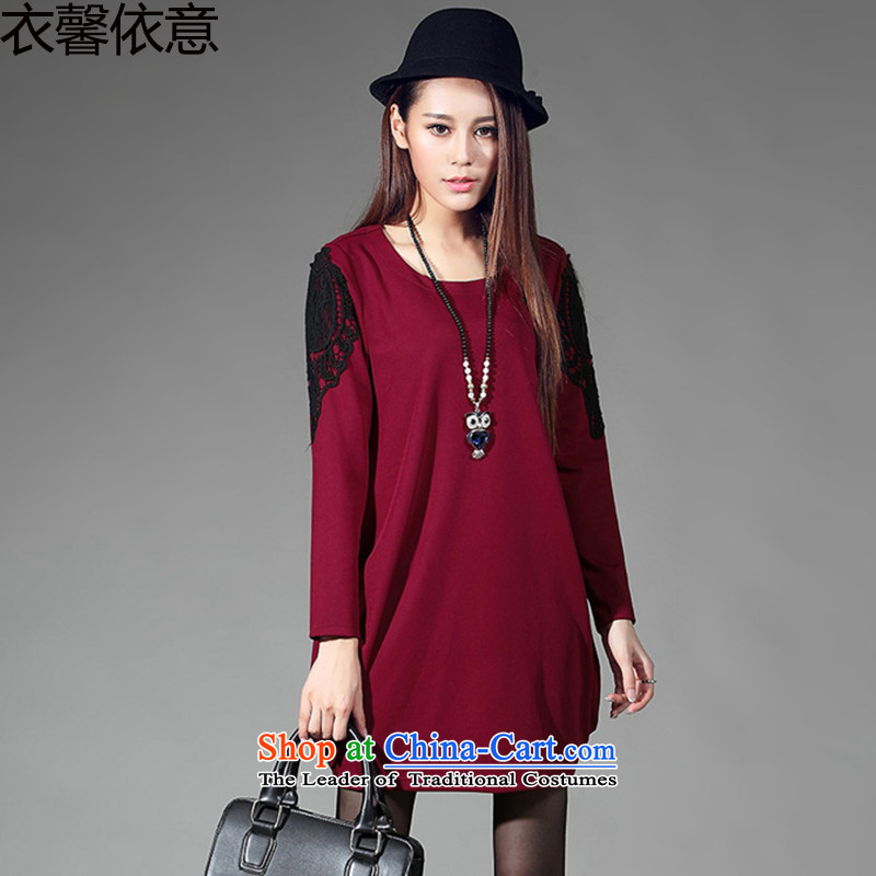 In accordance with the intention to include yi 2015 new winter new larger women forming the relaxd dress Y411 female wine red燲L