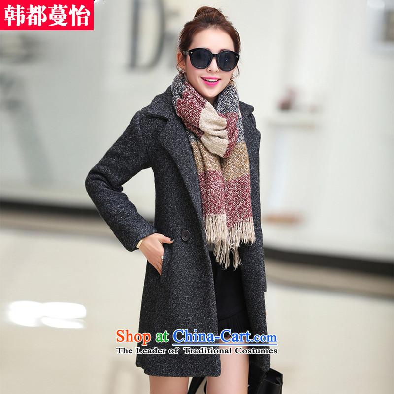 Korea has Overgrown Tomb Selina Chowautumn and winter 2015 new Korean version of gross?   to female coats? 5909 gross jacket Black GrayL