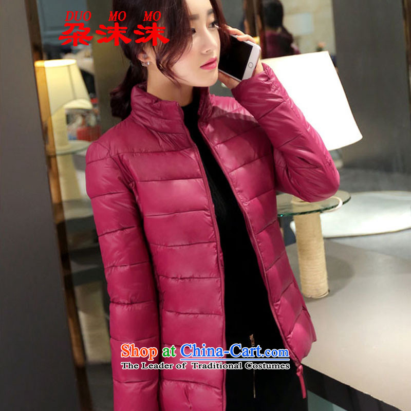 Spray gel 2015 Winter 朶 new to xl downcoat female Short thin, thin thick MM Sau San video cotton coat large warm jacket 388 XXXL wine red
