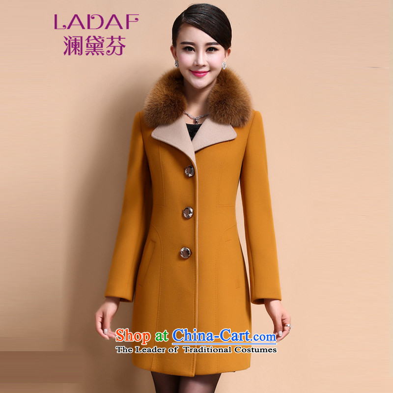 The World 2015 autumn and winter fun Doi New_ Long Fox washable wool coat is gross 6305 Yellow燲L