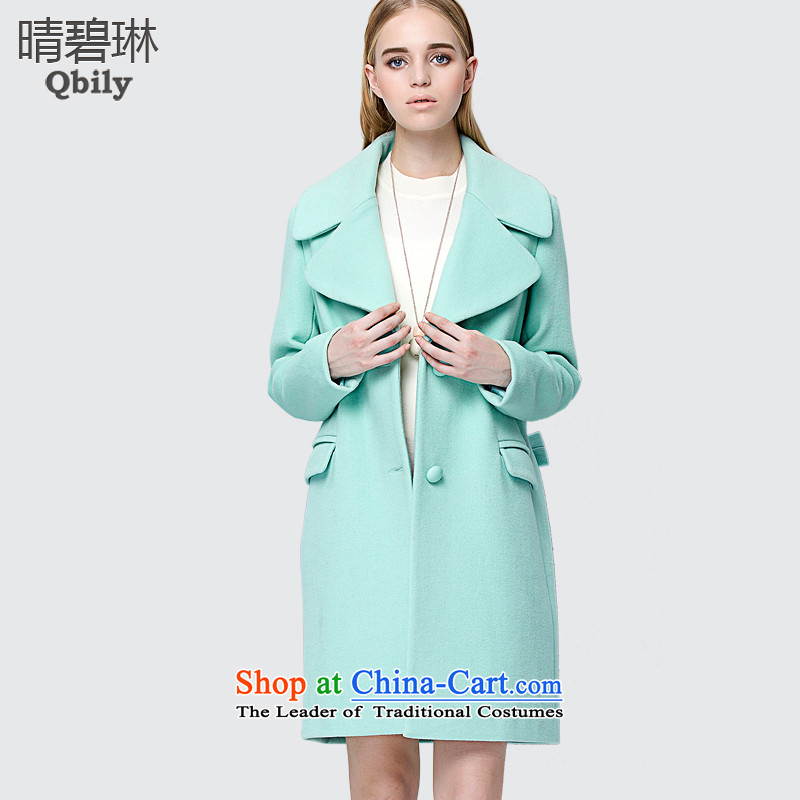 Sunny Pik Lam 2015 autumn and winter new products for women connected for long-sleeved flip in pure color long wool a wool coat mint green燤