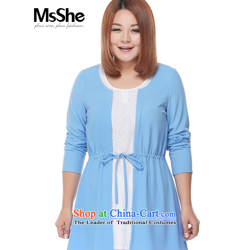 New Load autumn msshe2015 round-neck collar lace stitching larger women in mm thick long skirt the pre-sale of 2,796 blue shirt聽5XL- pre-sale to arrive at 12.10