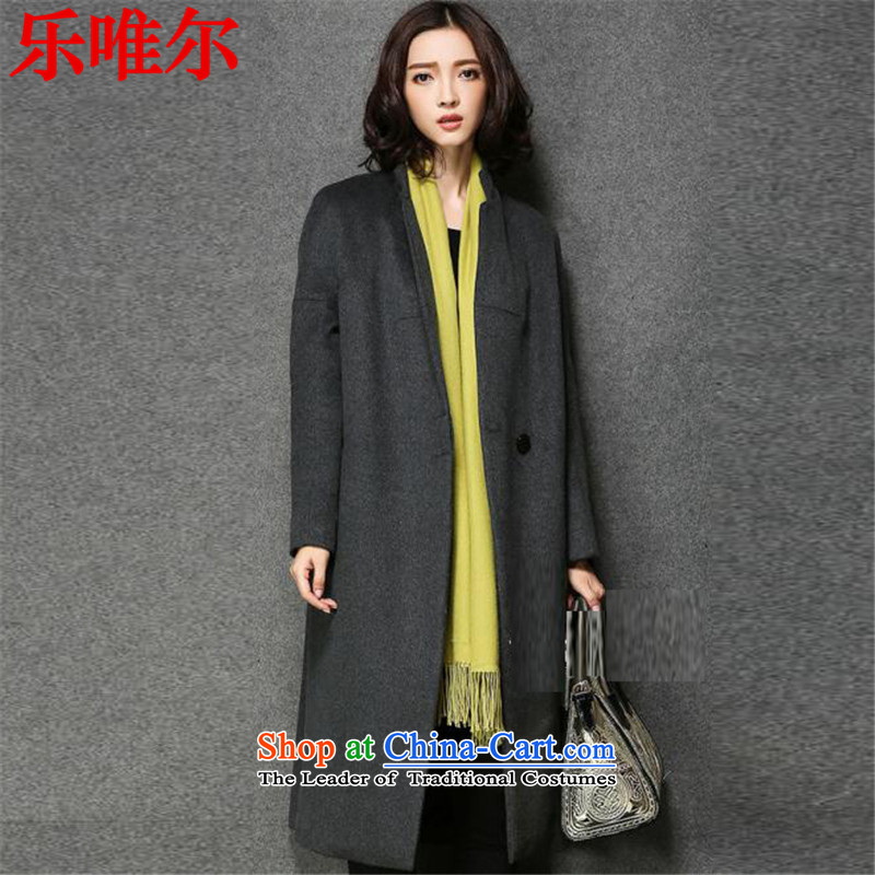 Music CD's temperament over knee 2015 gross coats in female long? jacket, Side Marker-straight larger wool a winter gray XL