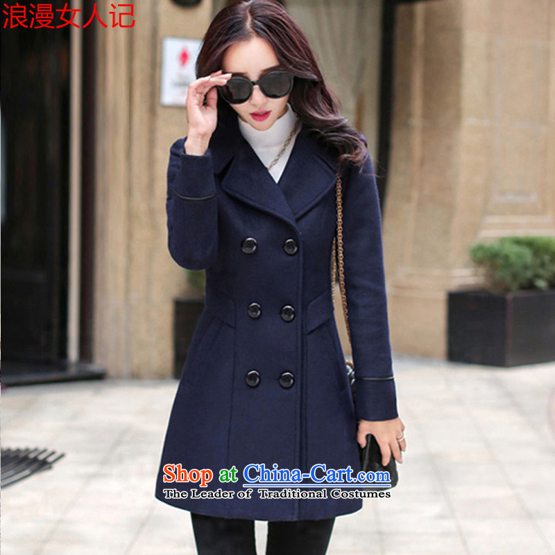 Note that a woman romantic jacket coat female autumn and winter 2015_ Women's jacket Choo Won Edition Video thin hair so Sau San coats female 1582A navy L