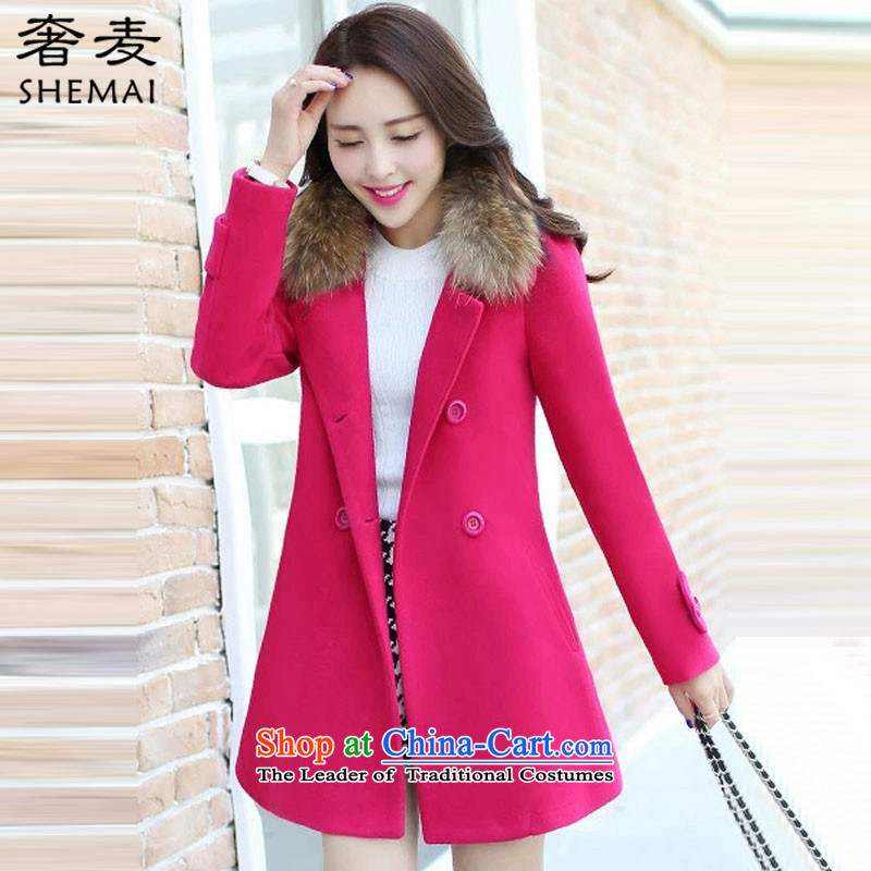 The extravagance 2015 winter wheat new Korean female jacket is     in the gross long double-gross for long-sleeved a wool coat H0116 female red in theXL