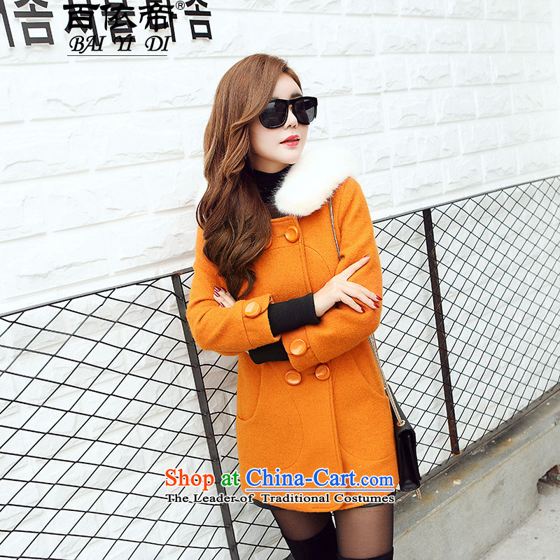 In accordance with the amount that hundreds of coat 2015 autumn and winter new Korean female decorated in the body of the solid color hoodie�56燳ellow燣