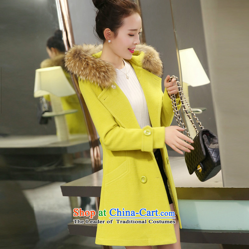 Sin has?2015 winter new Korean version of large numbers of ladies in gross? jacket long hair collar cap Sau San a wool coat Fluorescent Green plus cotton waffle? S