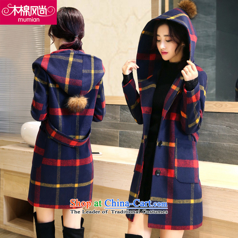 The Kapok 126_2015 fashion autumn and winter New England Preppy cap latticed gross red jacket? XL