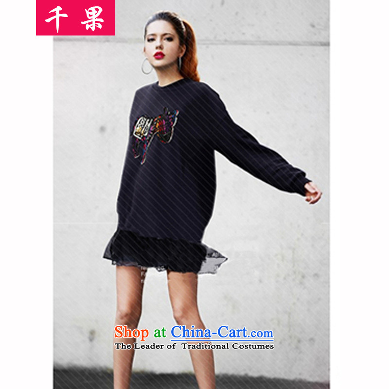 Thousands of fruit 200 catties 2015 new to increase women's code thick MM long-sleeved T-ponies load autumn 桖 shirt thick sister sweater jacket 1.64 5XL Royal Blue