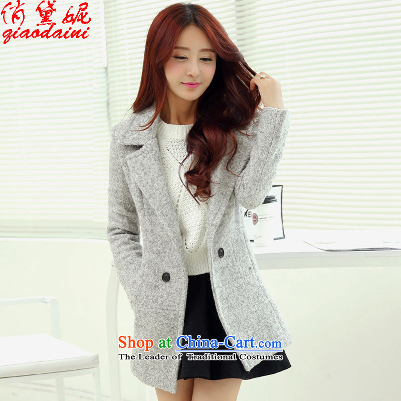 To Doi Connie? coats of autumn and winter jackets for women autumn 2015 jacket Korean video thin hair so Sau San coats female 1018A Light Gray燣