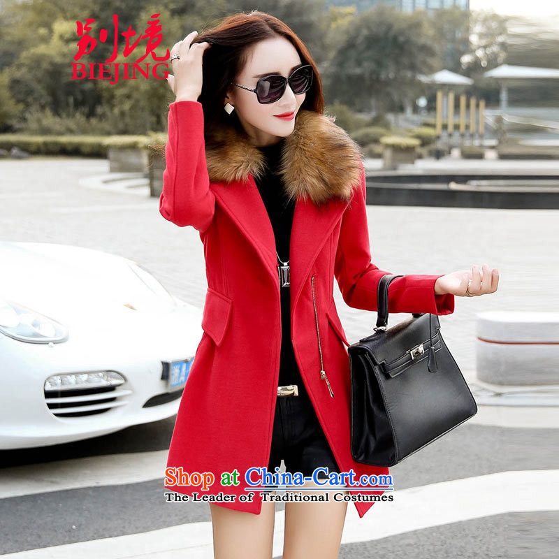 Country boundary gross? 2015 autumn and winter coats girl with the new Korean fashion, long wool coat female redL?