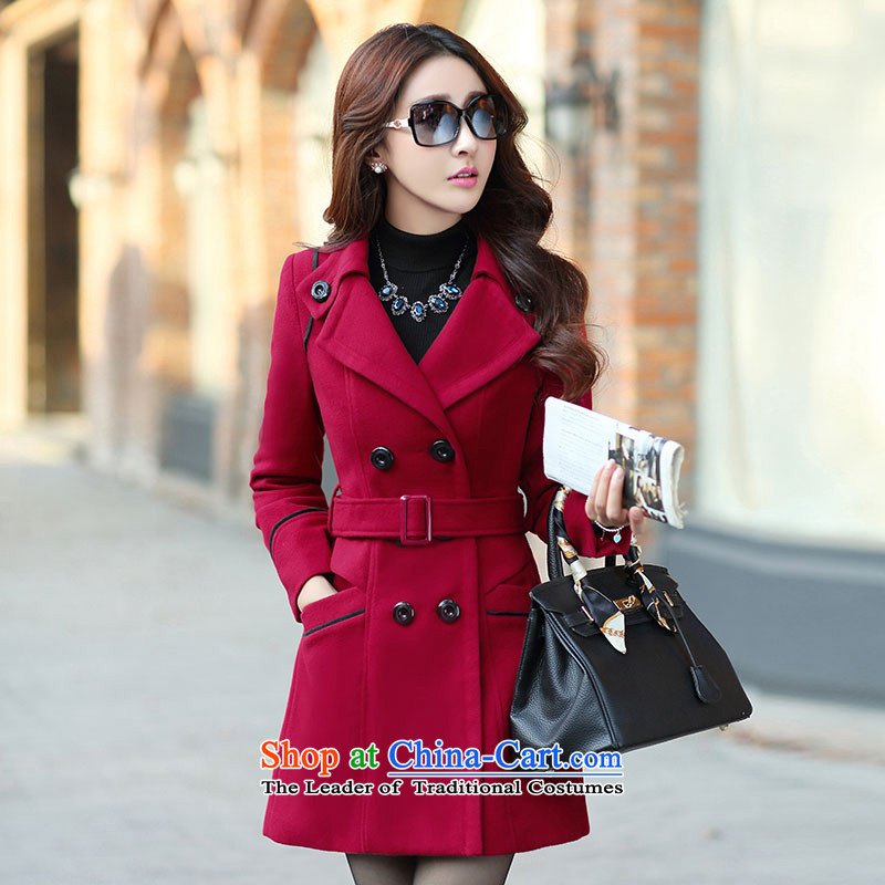 The autumn and winter new Korean version of wild double-video thin large thick hair? tether overcoat women?8858??XXXL wine red