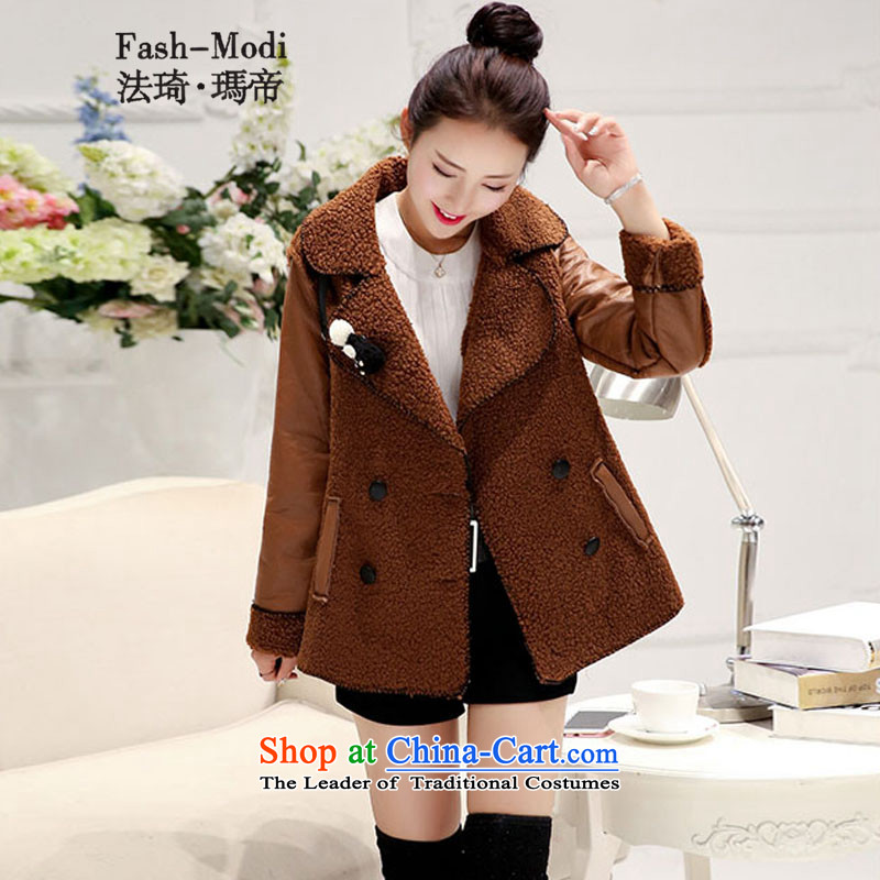 Law Chi Princess Royal 2015 autumn and winter, Japan and the rok new autumn and winter coats female short hair?_ PU lamb Sau San Mao jacket coat female deep lady聽XXL