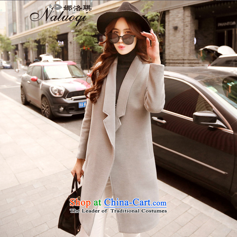 The angel of the�15 autumn and winter new pure color long-sleeved jacket girl in gross? long version of large Korean lapel coats female a wool coat jacket gray燤