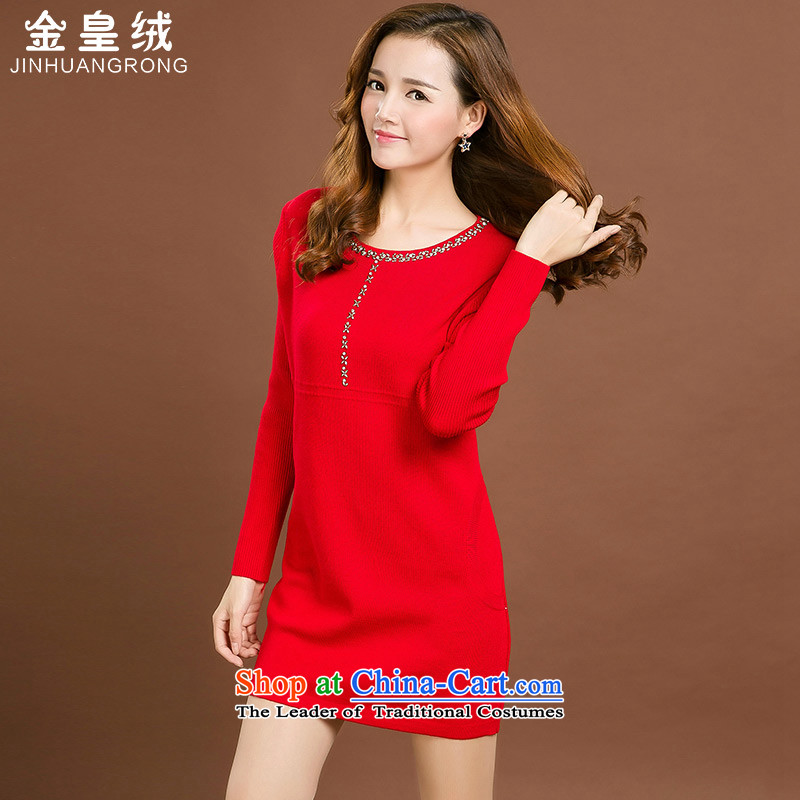 Jinhuang lint-free large relaxd thick mm long autumn in replacing the skirt 2015 new women's Knitwear Korean loose autumn and winter to xl sweater skirt large red 5XL