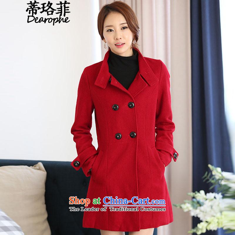 The Lhoba nationality, so gross Opertti coats female 2015 autumn and winter large female new Korean version of the long hair? jacket RED聽M