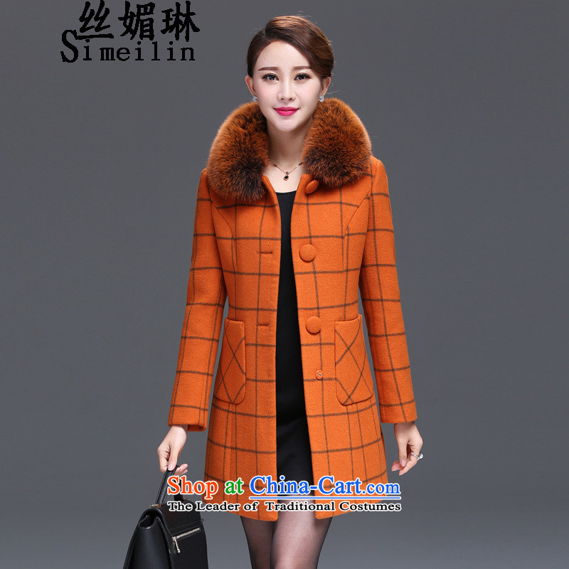 The population of autumn and winter 2015 Lin new wool? children grid emulation Fox for Gross Gross girls jacket? long wool coat women? orange XL