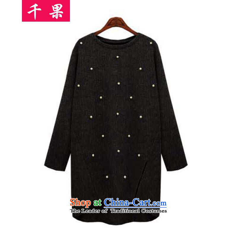 Thousands of large numbers of ladies' knitted autumn mm thick clothes to intensify the long nails, forming the Pearl River Delta Netherlands thick women who loose video thin outer jacket 6287 ground black 5XL sweater